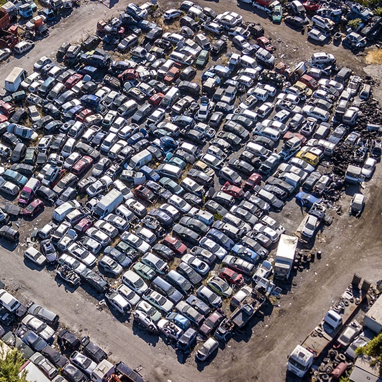 More Than 200 Cars Ready For Wrecking